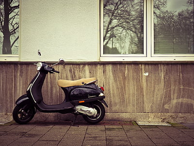 black motor scooter