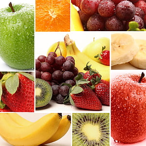 variety of fruits collage