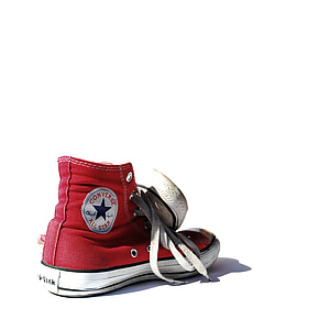 pair of red-and-white Converse All-Star high-tops sneakers