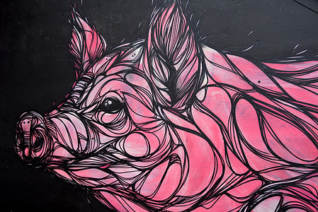 black and pink pig illustration