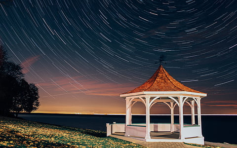 time lapse photo of wooden canopy near body of water