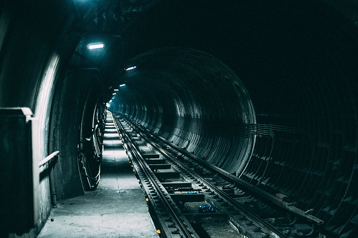train tunnel with white LED lights