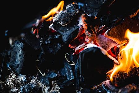 closeup photography of flaming charcoal