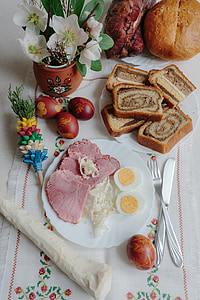 ham and hard-boiled egg on plate