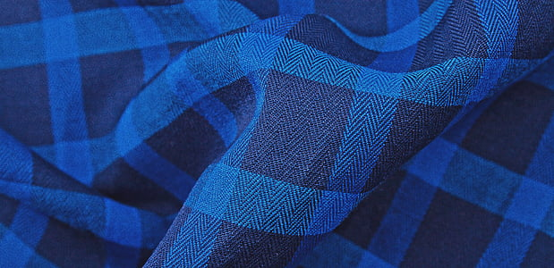 blue and black textile