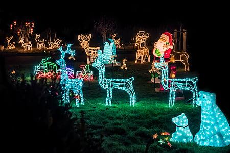 Santa Claus and deer light decor