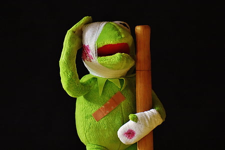 Kermit the Frog with gauze holding brown pole