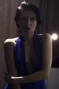 woman in purple halter dress