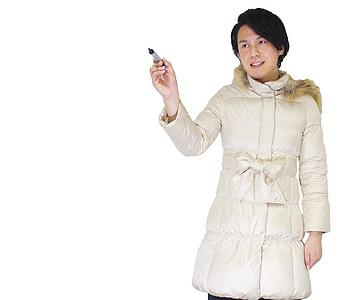 man wearing white parka coat