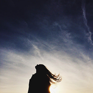 sunset, girl, silhouette, long hair, woman, sky