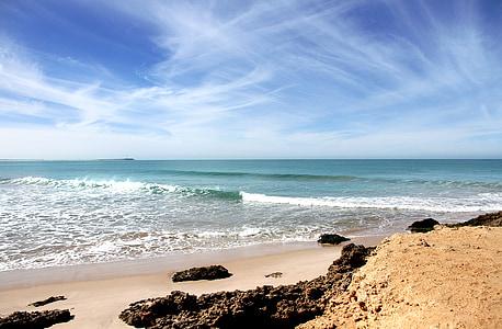 rocks on seashore and sea waves