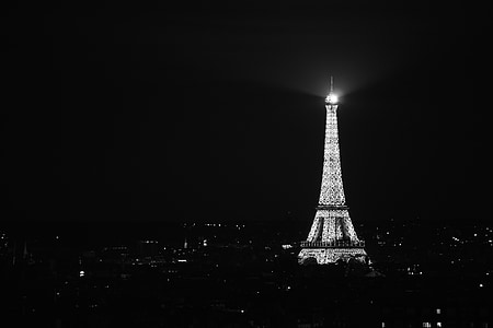 grayscale photography of Eiffel Tower