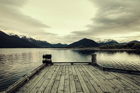 brown wooden dock and sea