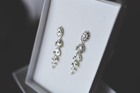 closeup photo of silver-colored floral drop earrings with box