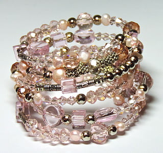 beaded pink and white bracelets