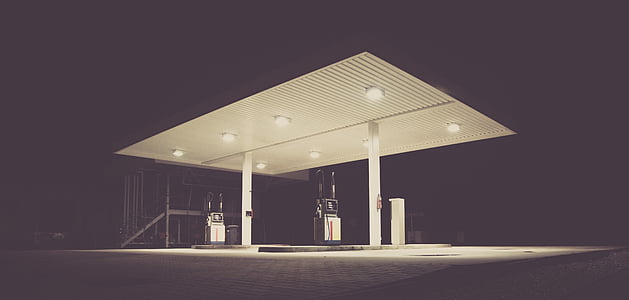 white and gray gas station