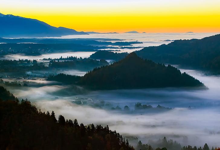 mountain underneath golden hour