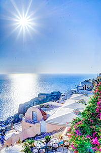 top view of Santorini, Greece