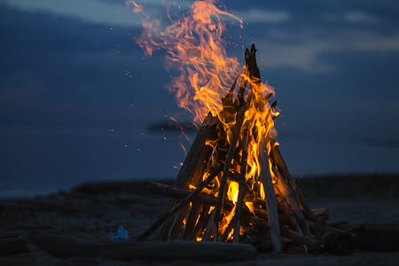 bonfire on beach sand