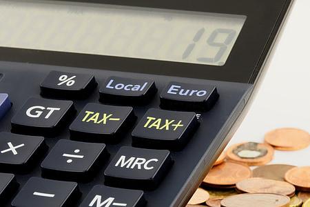 closeup of black desktop calculator
