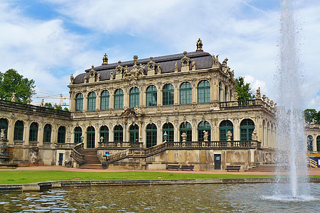 beige palace with water fountain