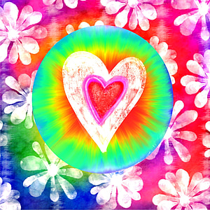 multicolored heart illustration