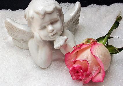 angel, angel figure, rose, snow, christmas, weihnachtsbaumschmuck