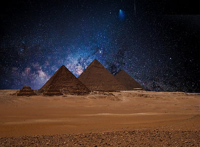 pyramids on desert