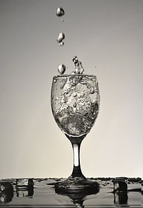 grayscale photography of wine glass with water inside