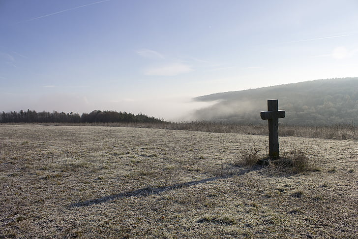 landscape photography of open field with brown cross