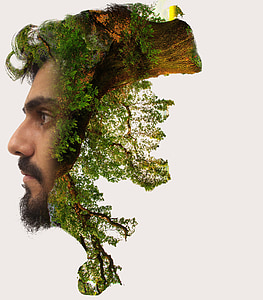 man's face and forest photo manipulation