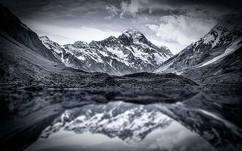 gray scale photography of mountains