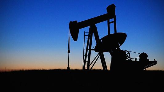 sihouette of industrial oil pump