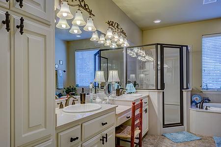 empty white wooden bathroom