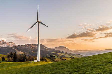 white wind turbine on green grass field under gray sky during daytime