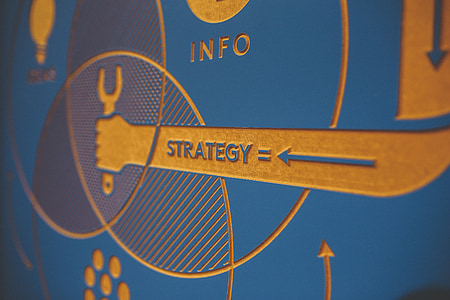 blue and yellow Strategy logo