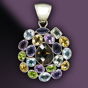 silver-colored assorted-color gemstone pendant