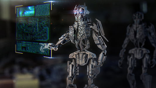 gray robot touching screen wallpaper