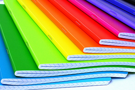 assorted-color notebooks