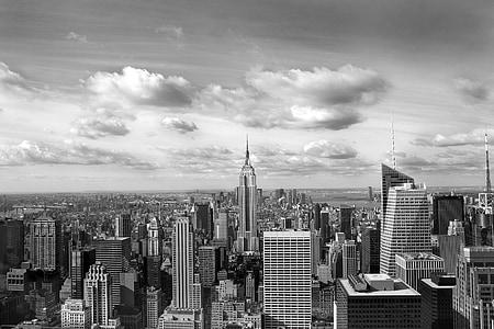 New York City skyline in greyscale photography