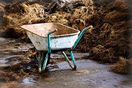 teal and brown wheelbarrow