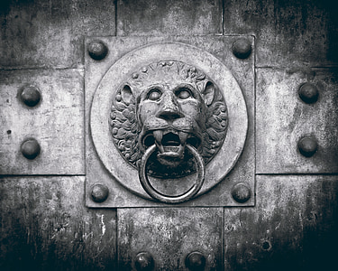 grayscale photo of lion gate knocker