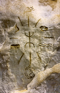 gray and brown stone glyph