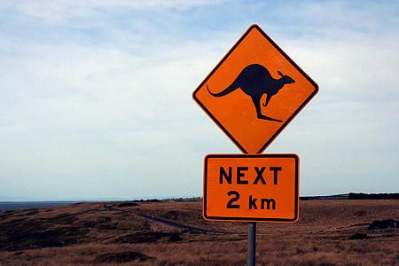 Next 2 km signage