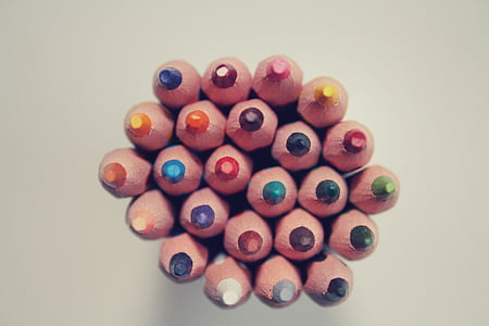 top view of coloring pencils