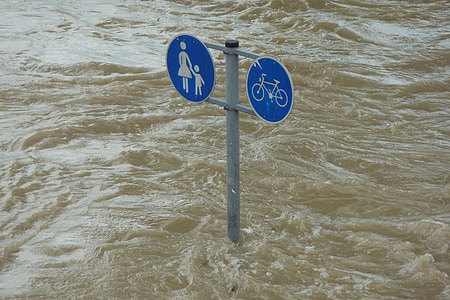 blue and gray road sign post covered with water