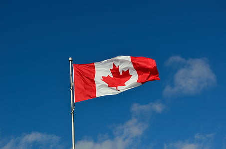 Canada flag under the blue sky during daytime