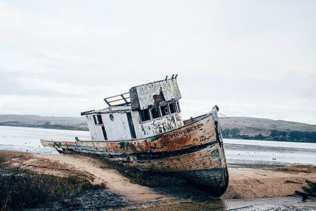 ship at the seashore during daytime