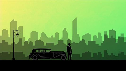 man standing beside classic car