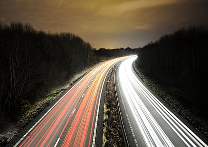 time lapse photo of two highways